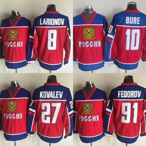 Mens Rússia Hockey Jersey 8 Alex Ovechkin 91 Sergei Fedorov 10 Bure 27 Kovalev 100% costurado Hockey Jerseys Red frete grátis