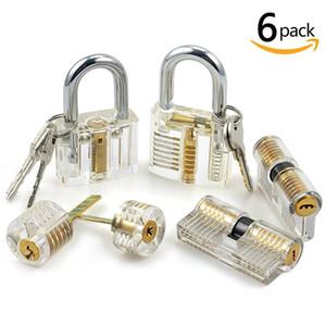 6pcs Practice Lock Set serralheiro Habilidade Trainning Bloqueio Escolha Ferramenta Transparente Cutaway Cristal Pin Tumbler com chave Cadeado por serralheiro Beginner