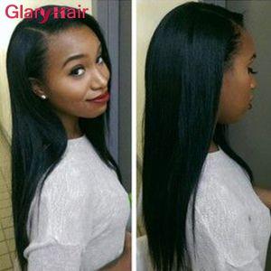 Los productos Glary visten conjuntos de cabello brasileño virgen recta armadura de cabello humano paquetes baratos Remy extensiones de cabello máquina tramas dobles 4pcs / lot