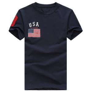 Envío gratis 2017 de algodón de Alta calidad nueva O-cuello de manga corta camiseta de la marca de los hombres camisetas Casual de la bandera para los hombres de deporte polo T-shirt