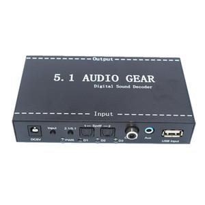 Freeshipping 5.1 Audiogeräte-Digital-Decoder-Konverter Audiogetriebe DTS / AC-3 zu 5.1 Digital Audio Converter