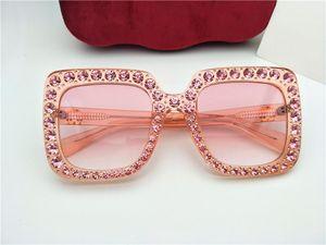 Novo designer de óculos de sol 0148 diamantes em mosaico design de moda óculos de sol para as mulheres grande moldura quadrada pequenas pernas óculos de sol
