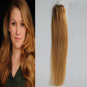 # 27 Çilek B londe Düz Döngü Mikro Yüzük Saç 1 g / strand 50 s / paket 50g 7a brezilyalı bakire saç bal sarışın 4b 4c