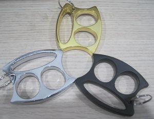 Yeni Sevimli Anahtarlık Anahtarlık Küçük Yüz Iki parmak Knuckle Güvenlik kadın ve erkek kendini savunma Araçları