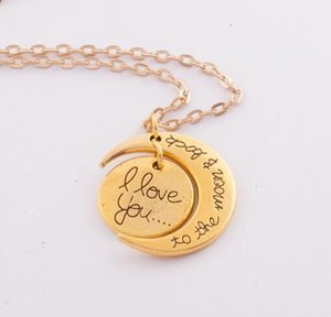 Collana di moda Collana di luna I Love You To The Moon And Back For Mom Sister Famiglia Catena a maglie a sospensione