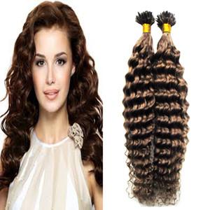 #6 средний коричневый кератин наращивание волос 100 г / пряди расширения кератин U наконечник наращивание волос глубокие вьющиеся наращивание человеческих волос