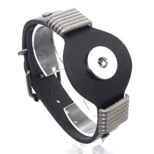 25 cm Réglable Snap Bracelet Vintage En Cuir Véritable Bracelet Fit 18mm Snap Bouton Bracelet pour Hommes Bijoux Montre Ceinture 9426 Cadeau De Noël