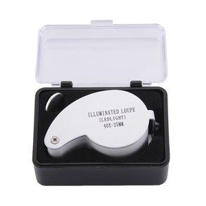 Illuminated Loupe Ledlight 40X-25MM MG21011 40x25mm Jeweler Loupe MINI Illuminated Magnifier Foldable Magnifying Glass Lens with 2 LED Light