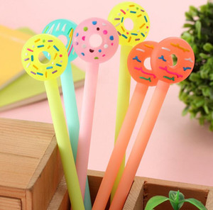 12pcs lot cute korean stationery candy color donuts black ink gel pen kawaii signature pens for promotion gift school office supplies