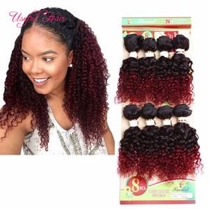 İnsan saç 8 paketler renk kahverengi, hata 250 gram ucuz derin dalga Brezilyalı saç uzatma, moğol kıvırcık insan örgü saç AB için, ABD, İNGILTERE kadınlar