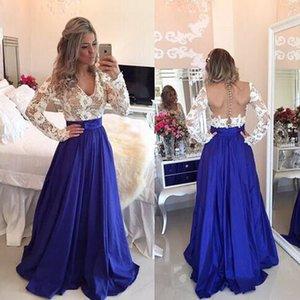 빈티지 화이트와 로얄 블루 환상 긴 소매 라인 댄스 파티 V 넥 깎아 지른 저녁 가운 레이스 사용자 정의 만든 Draped 챠밍