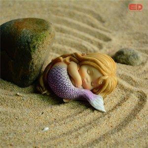 Regalos Eco-Friendly Todos los días colección del jardín de la fantasía Estatuilla Arte Obras Decoración de resina miniatura princesa sirena Estatua de hadas