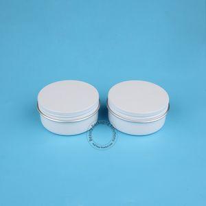 10 pcs / lot Haute Qualité 50 g Epmty Crème En Aluminium Pour Femmes Femmes Cosmétique 50 ml Crème Faciale Lady Couvercle Blanc Vis Rechargeable Peut