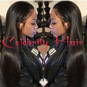 Pelo largo recto natural del pelo sin cola frente del cordón wi peluca llena del cordón del pelo para los afroamericanos woman12-26inch resistente al calor
