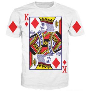 La más nueva moda para hombre / mujer Poker King of Diamonds Camiseta Summer Style Funny Unisex 3D Imprimir Casual Camiseta Tops Plus Size AA272