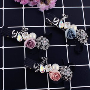 mix color fashion women hairclips Korean elegant crystal pearl hair clips rose flower barrettes
