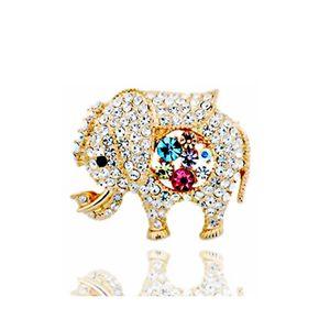 New animal bonito elefante Broches colorido Rhinestone Flores Broche de Mulheres Meninas Scarf Pin de ouro 18K Jóias Atacado