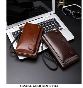 NEW 2018 Brown Handbag Wallet Wrist 906 Clutch Wallets Men Organizer Vintage POLO Checkbook Business Phone Bag Leather Gwjbc