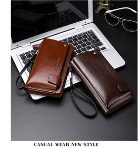Bag 2018 POLO Men Leather Business Checkbook Wallets NEW Handbag Wallet Brown Vintage Organizer Phone Clutch Wrist 906 Mhapj