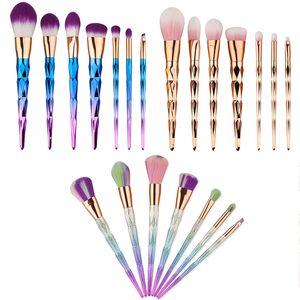 7pcs / set pinceaux de maquillage professionnel 3 couleurs beauté cosmétique fard à paupières poudre pour les lèvres visage outils Kabuki pinceau ensemble