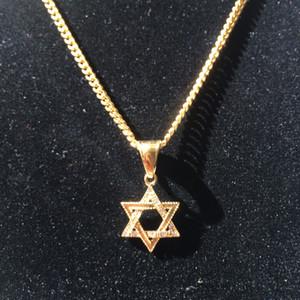 Мужчины из нержавеющей стали Золотая Звезда Давида ожерелье хип-хоп панк классический стиль шестиконечная гексаграмма ожерелье цепь ювелирные изделия