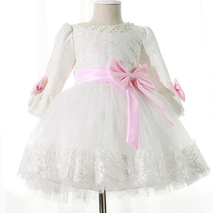 Long Sleeves New Flower Girl Dresses With Sashes Bow Party Pageant Communion Dress for Wedding Little Girls Kids Children Dress