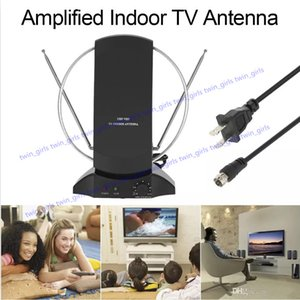 LAN-1014 Amplified HDTV Indoor Digital TV Antenna 50 Mile Range UHF   VHF with Power Supply for DTV   FM Receiver F Connector US Plug