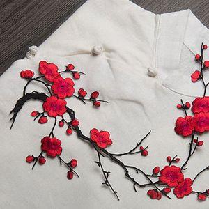 New Plum Blossom Blumeapplique Kleidung Stickerei Flecken Stoff Aufkleber Eisen auf nähen auf Flecken Craft Nähen Reparatur Bestickt