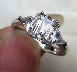 3 ct 에메랄드 컷 예쁜 디자이너 SONA 합성 다이아몬드 링 약혼 보석 여성용 스털링 실버 18K 화이트 골드 마감