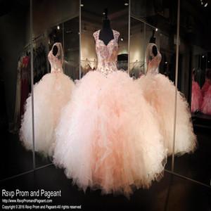 2017 복숭아 Organza 공 가운 공주 Quinceanera 드레스 Sweetheart 모자 슬리브 골치 아플 어어 Tier Ruffles Skirt Sweet 16 Prom Dresses