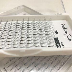 Ucuz Fiyat Rus Hacmi Kirpikler 5D Rootless Kısa Baz Güzellik Salonu için Kısa Kök Ön Made Fanlı Kirpik Uzatma Özel Etiket