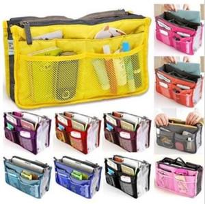 13 Цвета двойной мешок в мешок женщин Вставка сумки Организатор кошелек макияж кейс для хранения Liner Bag Tidy путешествий Вставка для хранения сумки CCA6643 30pcs