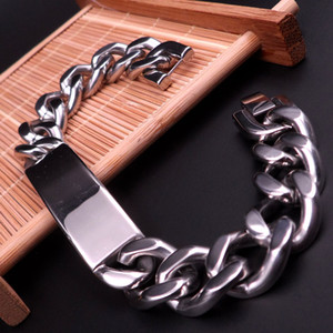 Meilleur prix vente chaude en acier inoxydable 316L 15mm cuban gourmette chaîne brillant ID bracelet lourd Grand BIJOUX pour hommes 15mm 21cm ou 23cm