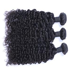 Mejor calidad pelo brasileño sin procesar brasileño malasio peruano indio Extensión del pelo rizado 3 o 4 piezas armadura del pelo de la Virgen humana