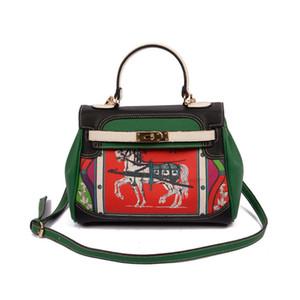 2017 Nueva estrella de Euramerican misma bolsa de hombro del mensajero de la manera del estilo bolsa de mano Patrón geométrico floral bolsos de diseño de lujo de cuero Suave