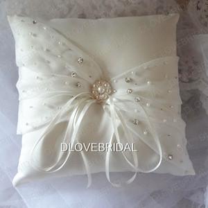 Elegante blanco marfil satinado organza anillo nupcial almohada con delicados adornos de cristal ceremonia de boda almohadas anillo con cintas de alta calidad