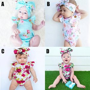New Summer Ins Infant Baby Flowers Rompers Overalls Jumpsuits Girls Kids Florals Climbing Clothing + Bowknot Headband Babies Set