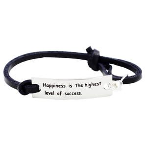 Le bonheur est le plus haut niveau de Success-Bracelet en cuir d'inspiration argent avec l'encouragement Citation Mots Philosophie de la vie Dire des cadeaux