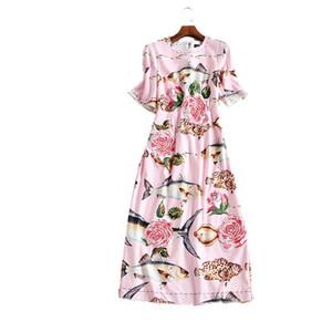 2017 Primavera Rosa / Blanco Manga Corta de Seda de Pescado Rosas Imprimir Vestido de Las Mujeres Largas Marca Mismo Estilo Vestidos De Festa 110605