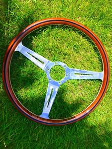 aptos para el agujero de Nardi Volante de madera de madera 380 mm / 15 pulg. / 38 cm. volante del coche tres carreras con cuerno