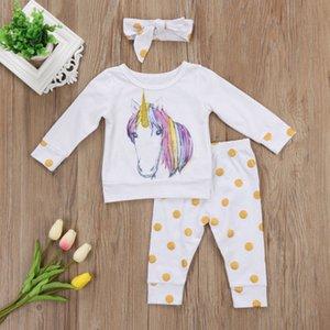폴카 새로운 기능 아동 의류 세트 가을 여자 아기 유니콘 프린트 T 셔츠 긴 바지 머리띠 3PCS 세트를 점