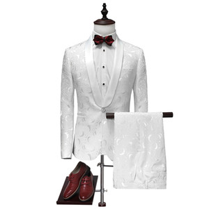 Wholesale- jacket+pants 2017 high quality fashion single button white wedding suits men,casual men's Dress suits,Business Suits blazers