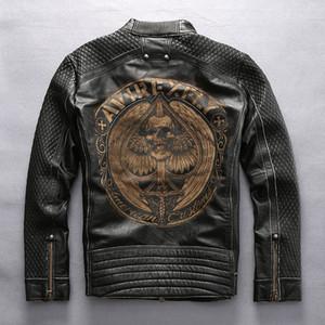 AVIREXFLY человек старинные мотоцикл куртка первый слой из натуральной кожи лазерная роспись черепной скелет мужской Локомотив пальто