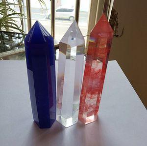 Синий расплав + прозрачный расплав + красный расплав кварц кристалл палочка точка unicuspid плавки кварц кристалл точка исцеления