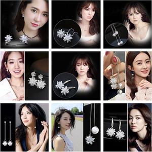 2017 yüksek kalite yeni lady küpe, 925 ayar gümüş küpe, çiçek kristal takı, moda takı toptan
