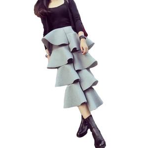 2016 Nueva Marca Coreana Cake Falda Espacio Algodón Mujeres Ruffles Vestido Maxi Irregular Casual Color Sólido Falda Larga
