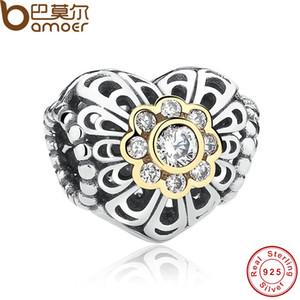 Pandora Style Authentic 925 Sterling Silver Love Charm con pietra color oro openwork Charm Fit originale collana bracciale gioielli fai da te