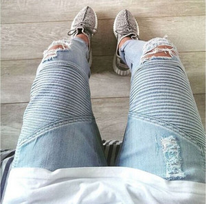 Toptan-temsil giyim tasarımcısı pantolon slp mavi / siyah mens slim denim düz biker skinny jeans erkekler yırtık kot 28-38