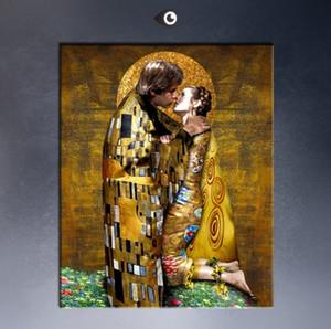Encadré Gustav Klimt Le Baiser Peinture À L'huile Abstraite Portrait Art abstrait, sur Toile Art Photo Murale Haute Qualité Plusieurs tailles