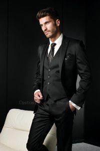 Großhandel 2016 maßgeschneiderte schwarz mens anzüge mit hosen slim fit bräutigam smoking beste mann hochzeitsanzüge für männer groomsmen anzüge 3 stück anzug